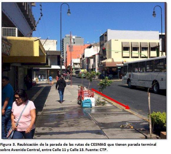 Cambio de recorrido y terminal en San José, por sustitución de tubería.