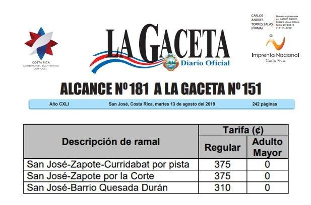 Nuevas Tarifas en Autotransportes Zapote.